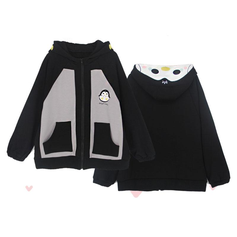 Modakawa Coat Black / S Penguin Baby Embroidery Zipper Hooded Coat