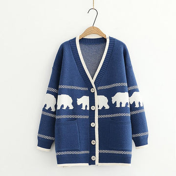 Modakawa Coat Blue / One Size Cartoon Bear V-Neck Button Knitted Sweater Coat