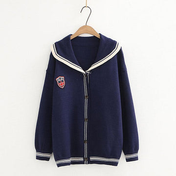 Modakawa Coat Blue / One Size School Badge Embroidery Collar Stripe Sweater Coat