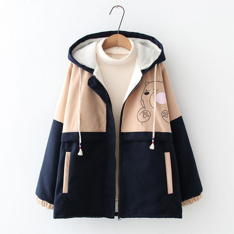 Modakawa Coat Blue / S Bear Print Color Block Hooded Coat