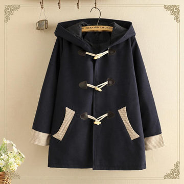Modakawa Coat Blue / S Ears Horn Buckle Hooded Coat College Style