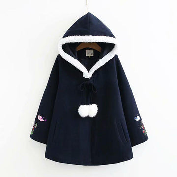 Modakawa Coat Blue / S Flower Bird Embroidery Lacing Fuzzy Ball Hooded Coat