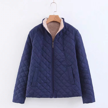 Modakawa Coat Blue / S Pure Color Stand Collar Coat