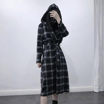 Modakawa Coat British Style Plaid Hooded Long Coat
