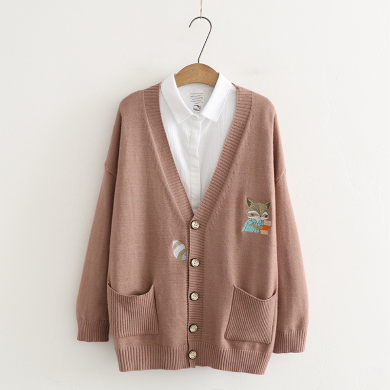 Modakawa Coat Brown Japanese Cartoon Fox Embroidery Cardigan Coat