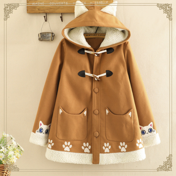 Modakawa Coat Brown / S Horn Buckle Cat Hooded Coat