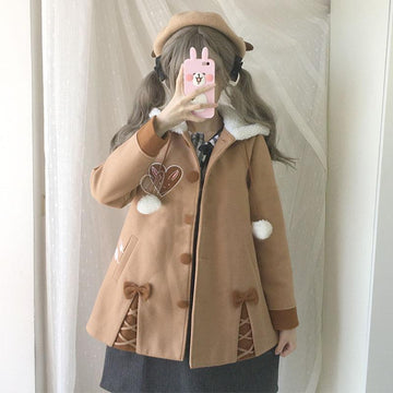 Modakawa Coat Bunny Bowknot Plush Hooded Coat