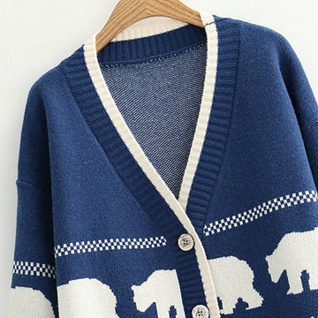 Modakawa Coat Cartoon Bear V-Neck Button Knitted Sweater Coat