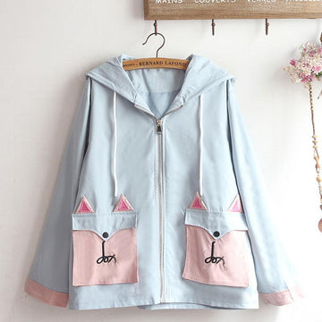 Modakawa Coat Cat Ears Hooded Double Pocket Coat