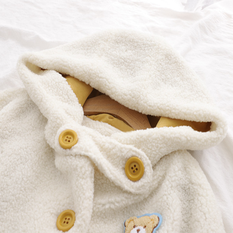 Modakawa Coat College Style Little Bear Hooded Cotton Coat