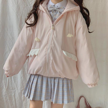 Modakawa Coat Cute Cloud Drawstring Hooded Cotton Coat