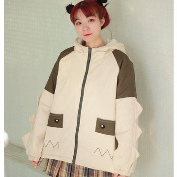 Modakawa Coat Cute Dinosaur Hooded Coat