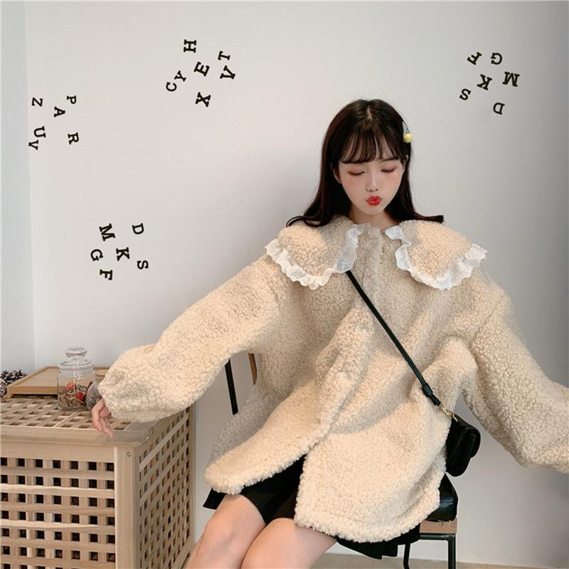 Modakawa Coat Cute Doll Collar Plush Coat