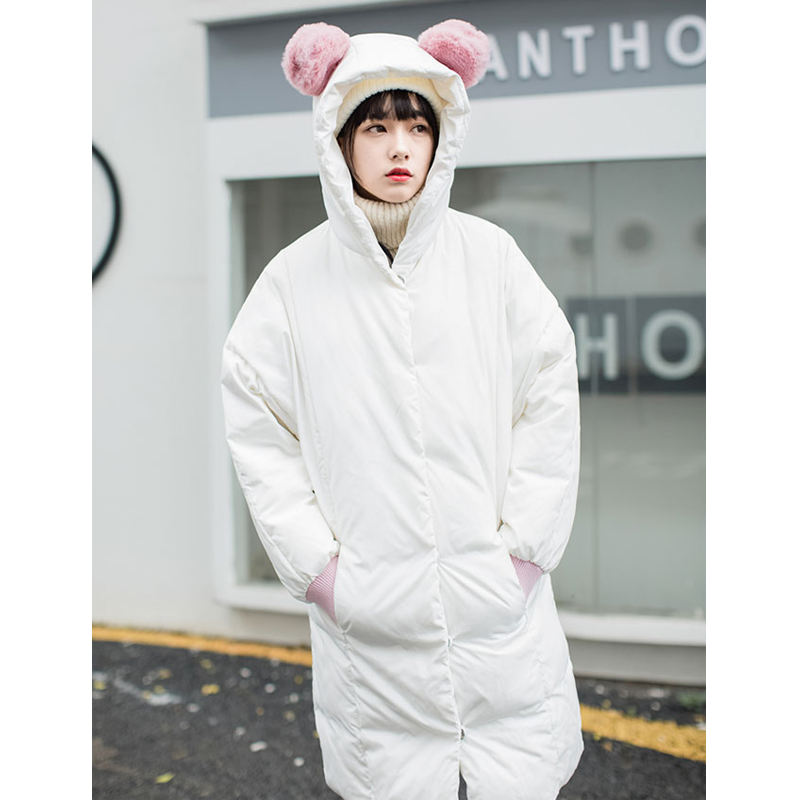 Modakawa Coat Cute Ears Pocket Loose Hooded Down Coat