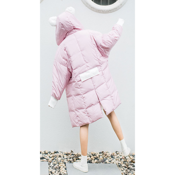 Cute Ears Pocket Loose Hooded Down Coat
