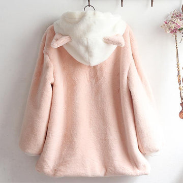 Modakawa Coat Cute Kitty Ears Embroidery Fuzzy Ball Hoodie Coat