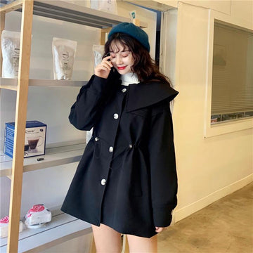 Modakawa Coat Cute Pure Color Lapel Jacket