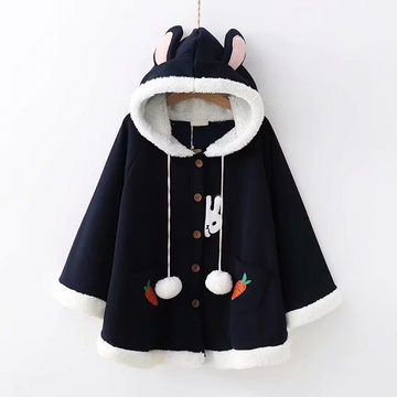 Modakawa Coat Dark Blue Rabbit Ears Radish Embroidery Fuzzy Ball Coat