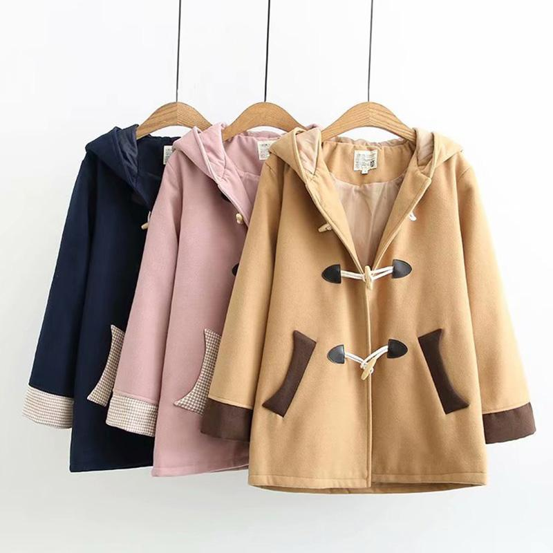 Modakawa Coat Ears Horn Buckle Hooded Coat College Style