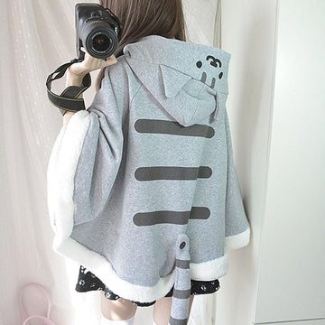 Modakawa Coat Gray / One Size Cat Ears Cartoon Cosplay Hooded Cloak Coat