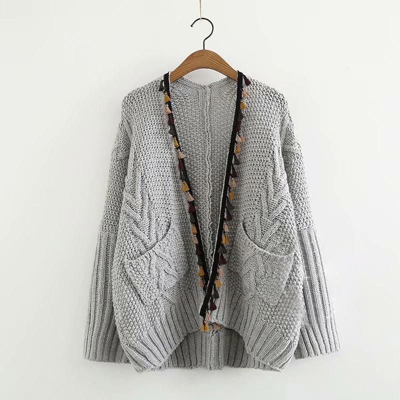 Modakawa Coat Gray / One Size Open Front Tassel Knit Cardigan Sweater Coat