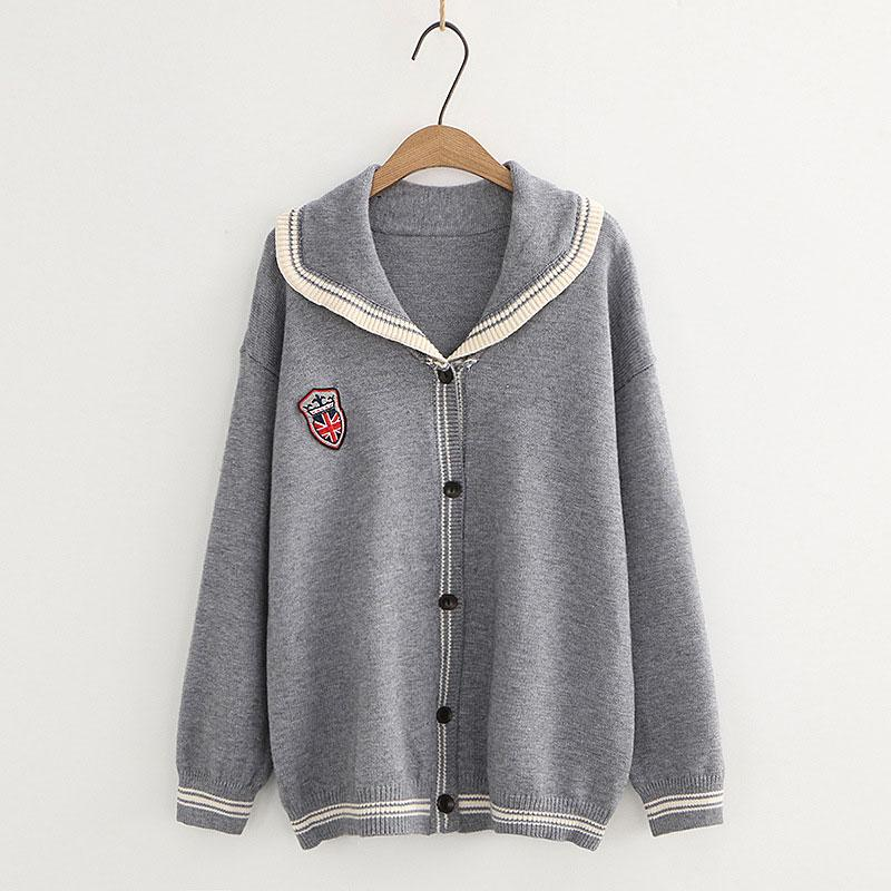 Modakawa Coat Gray / One Size School Badge Embroidery Collar Stripe Sweater Coat