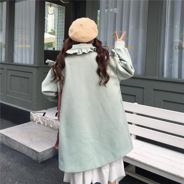 Modakawa Coat Green / One Size Sweet Ruffle Doll Collar Loose Coat