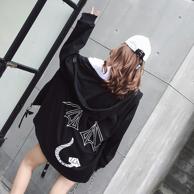 Modakawa Coat Kawaii Devil Horn Hooded Coat