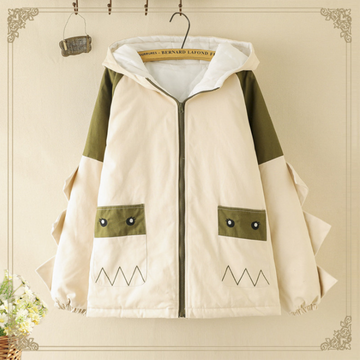 Modakawa Coat Khaki / One Size Cute Dinosaur Student Hooded Coat
