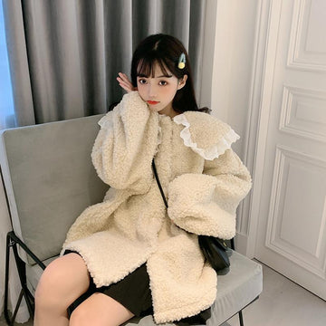 Modakawa Coat Khaki / One Size Cute Doll Collar Plush Coat