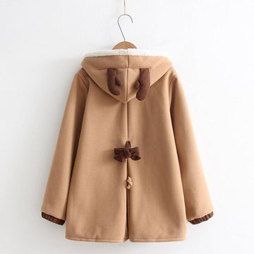 Modakawa Coat Khaki / One Size Deer Ears Mori Girl Hooded Coat