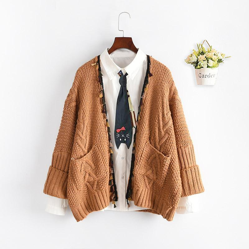 Modakawa Coat Khaki / One Size Open Front Tassel Knit Cardigan Sweater Coat