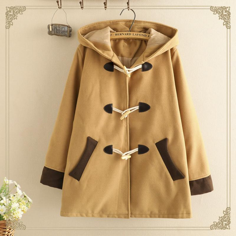 Modakawa Coat Khaki / S Ears Horn Buckle Hooded Coat College Style