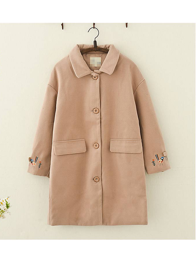 Modakawa Coat Khaki / S Embroidered Woolen Coat