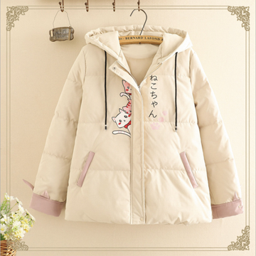 Modakawa Coat Khaki / S Japanese Cat Student Hooded Cotton Coat