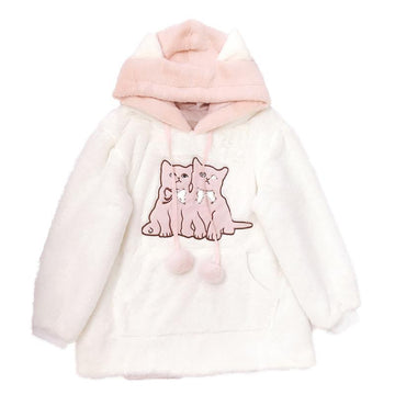 Modakawa Coat Kitty Ears Embroidery Fuzzy Ball Hoodie Coat