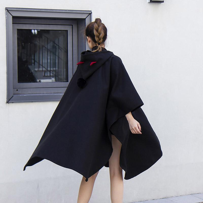 Modakawa Coat Little Devil Hooded Black Cloak Long Cape Irregular