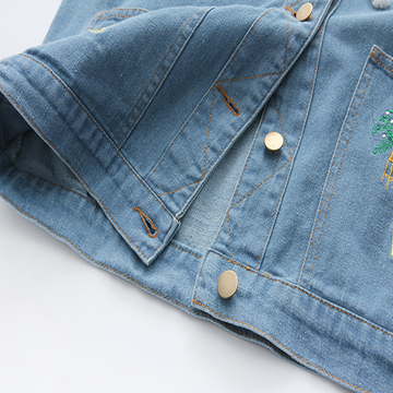 Modakawa Coat Loose Embroidery Denim Jacket