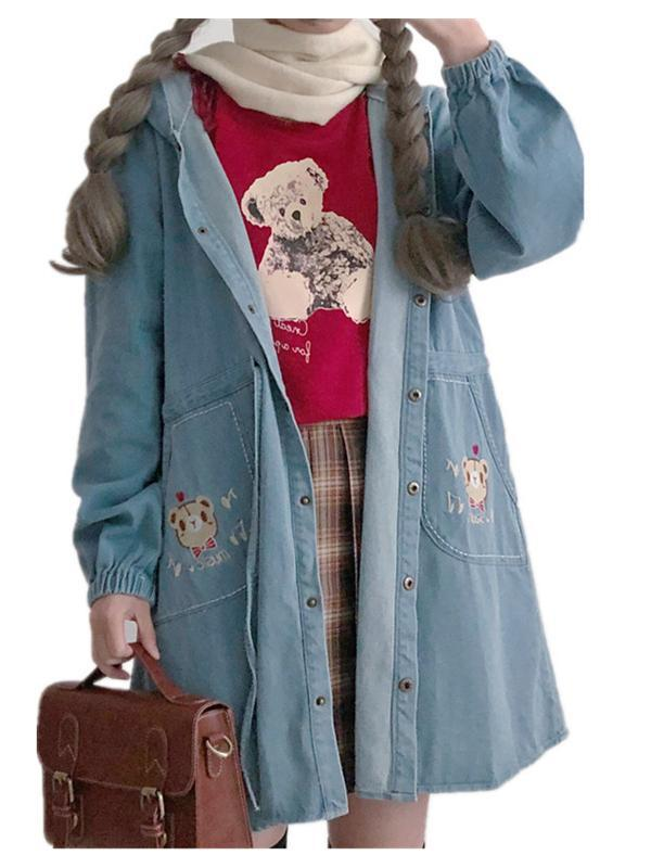Modakawa Coat Lovely Bear Cartoon Embroidery Denim Jacket