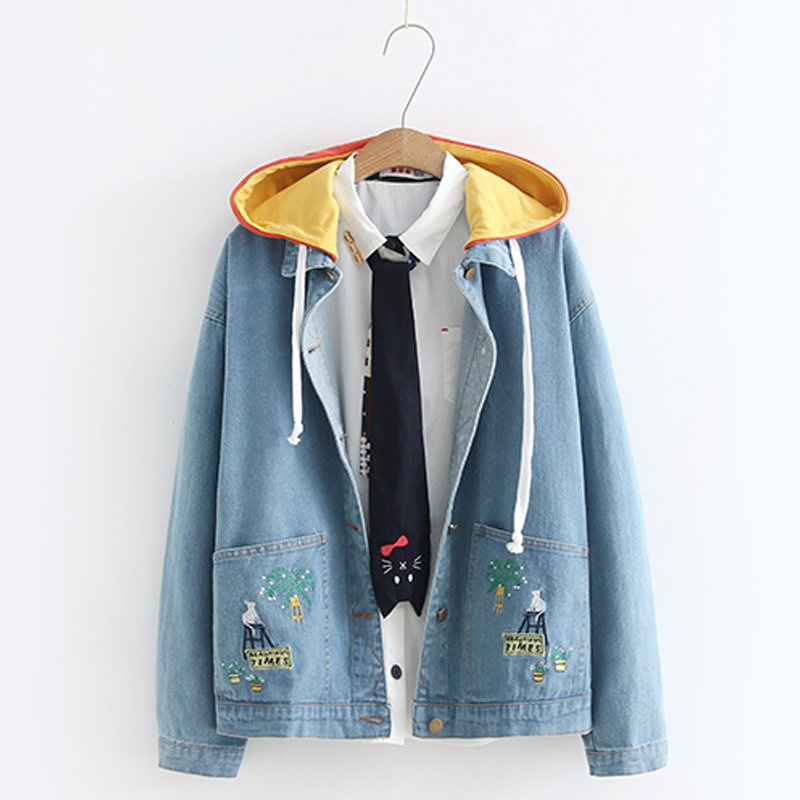 Modakawa Coat M Loose Embroidery Denim Jacket