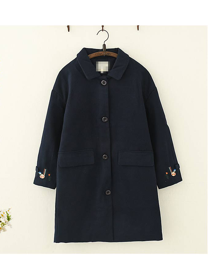 Modakawa Coat Navy / S Embroidered Woolen Coat