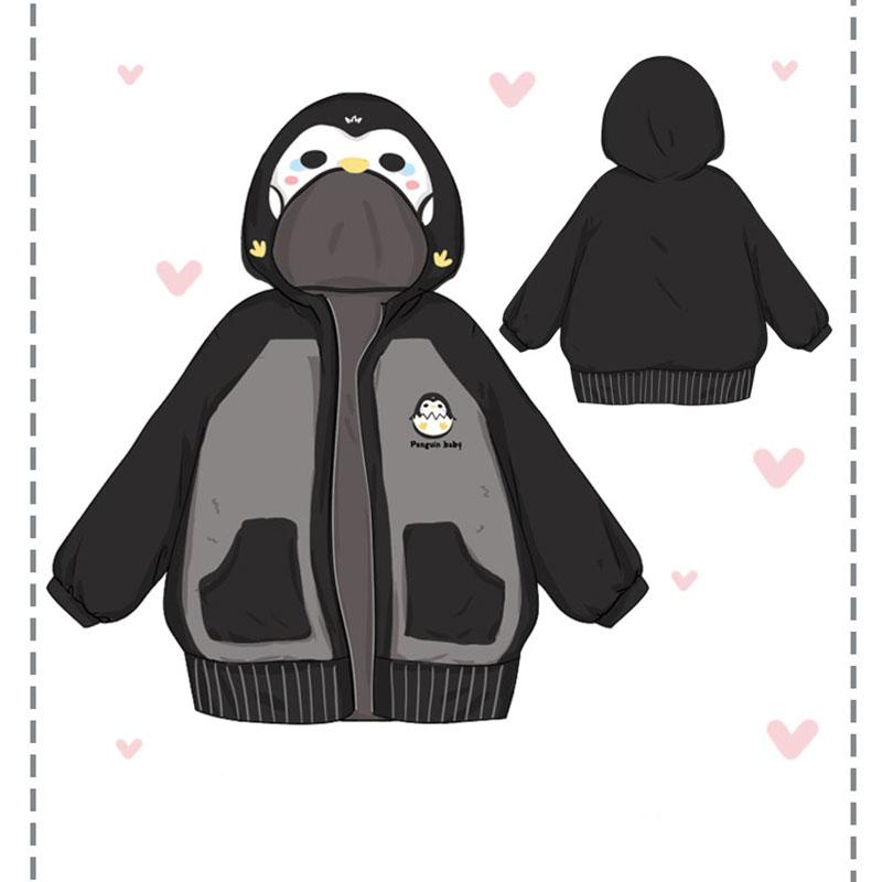 Modakawa Coat Penguin Baby Embroidery Zipper Hooded Coat