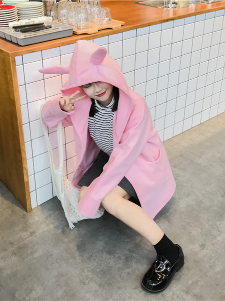 Modakawa Coat Pink Kawaii Devil Horn Hooded Coat