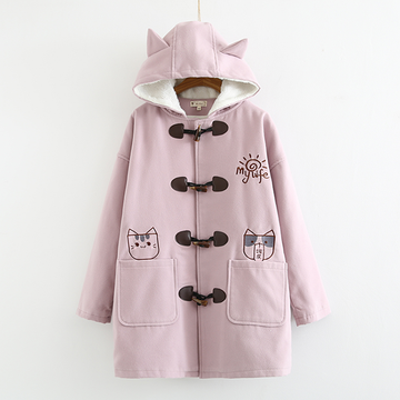 Modakawa Coat Pink / M Cat Embroidered Plush Hooded Straight Coat
