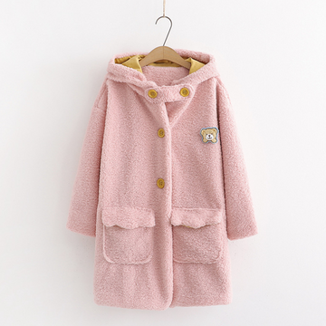 Modakawa Coat Pink / One Size College Style Little Bear Hooded Cotton Coat