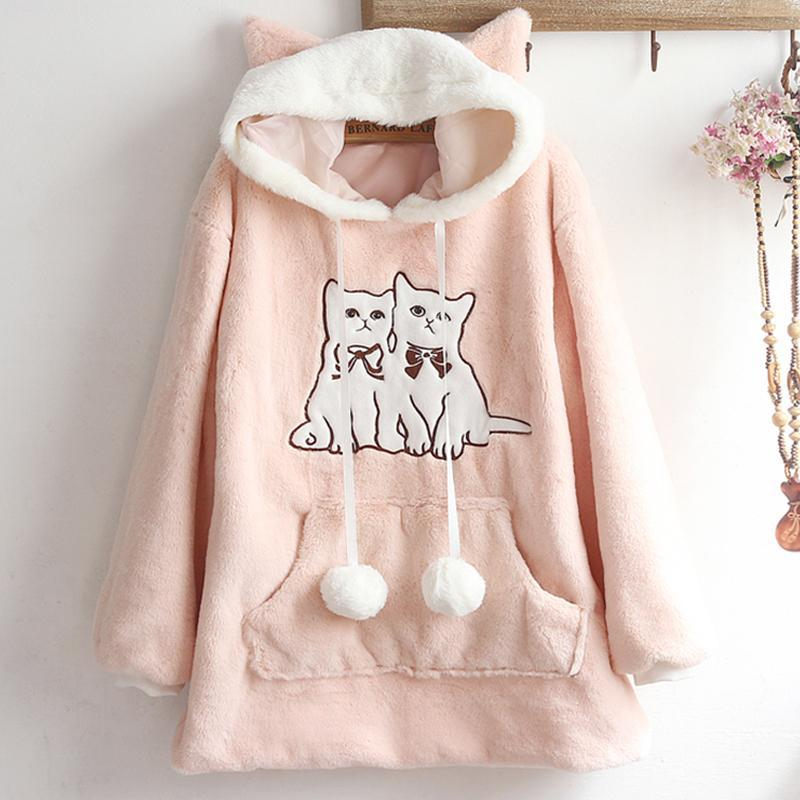Modakawa Coat Pink / One Size Kitty Ears Embroidery Fuzzy Ball Hoodie Coat