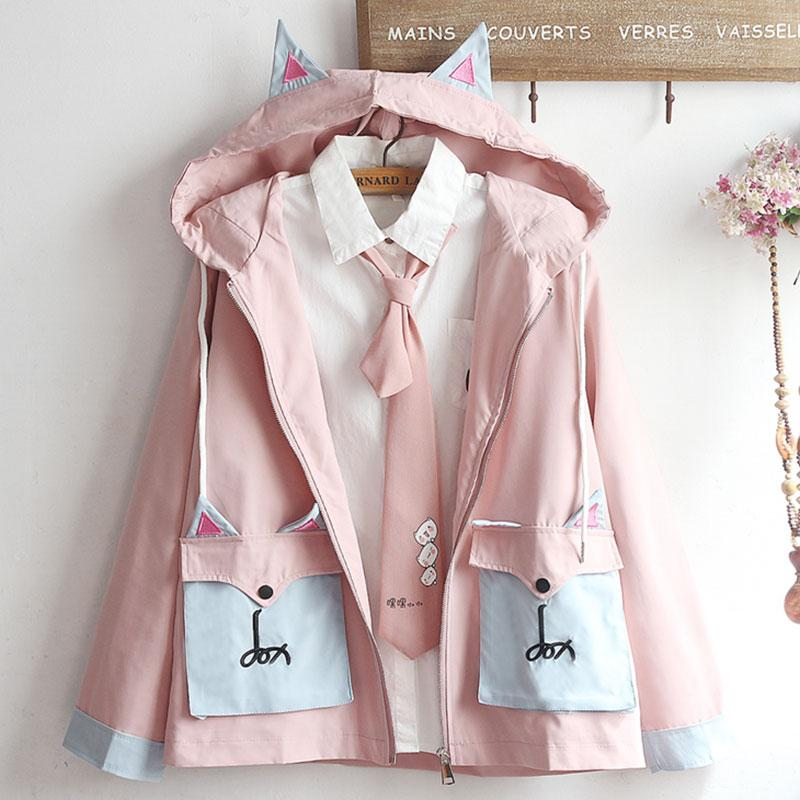 Modakawa Coat Pink / S Cat Ears Hooded Double Pocket Coat