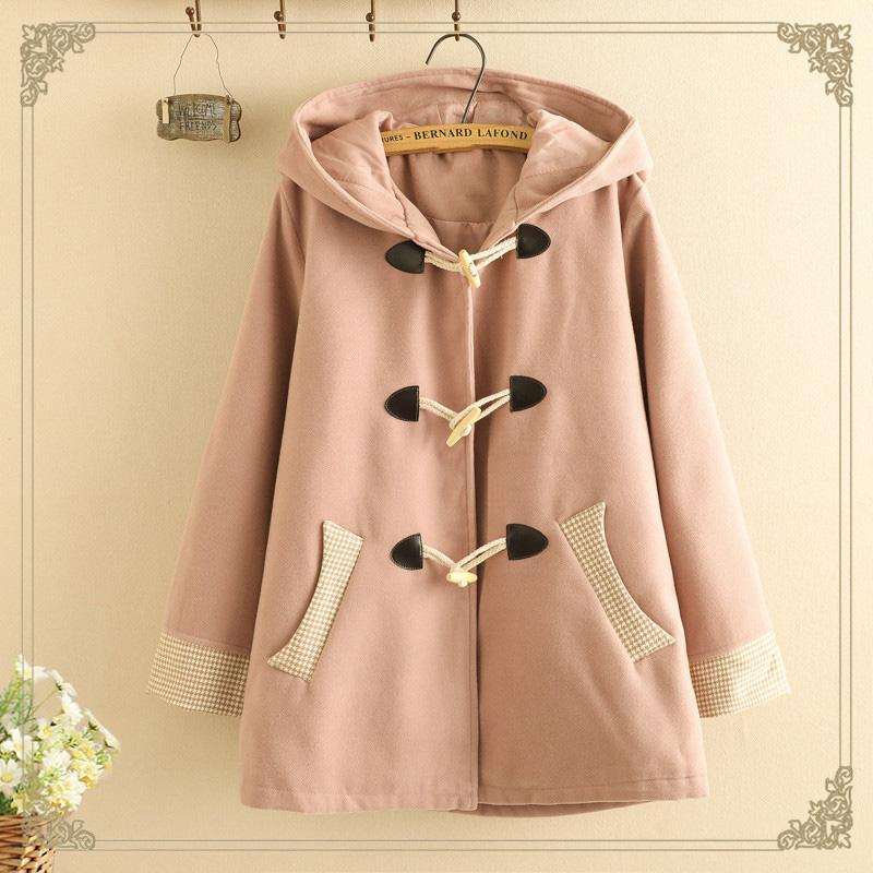 Modakawa Coat Pink / S Ears Horn Buckle Hooded Coat College Style