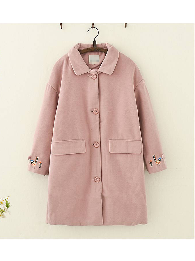 Bird Flower Embroidered Woolen Coat
