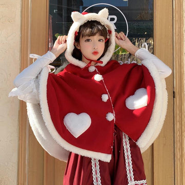 Modakawa Coat Red / One Size Cute Wings Ears Love Heart Hooded Short Cloak Coat